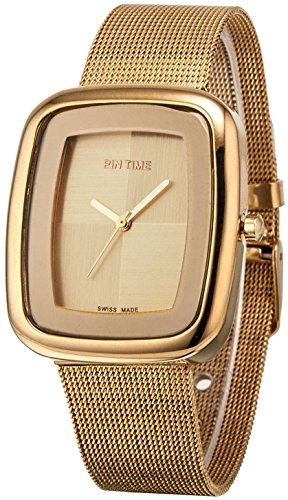 Ladies Mens Square Case Analog Display Quartz Gold Tone Stainless Steel Mesh Bracelet Luxury Wrist Watch