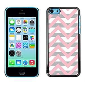 Caucho caso de Shell duro de la cubierta de accesorios de protección BY RAYDREAMMM - Apple iPhone 5C - Pink Beige White Lines Pattern
