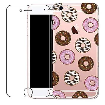 iphone 7 Funda y Templado Protector de Pantalla, Bestsky Carcasa iPhone 7 Transparente Silicona Dibujos Animados linda de los animales Protectora ...