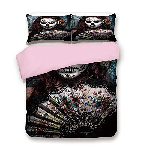 iPrint Pink Duvet Cover Set/Queen Size/Make up Artist Girl with Dead Skull Scary Mask Roses Print/Decorative 3 Piece Bedding Set with 2 Pillow Sham/Best Gift for Girls Women/Cadet Blue Maroon -