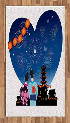 City Love Area Rug Romantic Japanese Couple with
