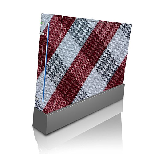 Flannel Textile Patter Black Grey Red Wii Console Vinyl Decal Sticker Skin by Moonlight Printing ()