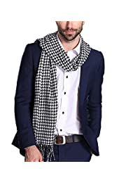 Maying Classic Houndstooth Scarf for Men &Women Winter Soft Tassel Long Scarves