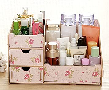 Yakistao diy en bois cosmétique organiseur maquillage boîte de
