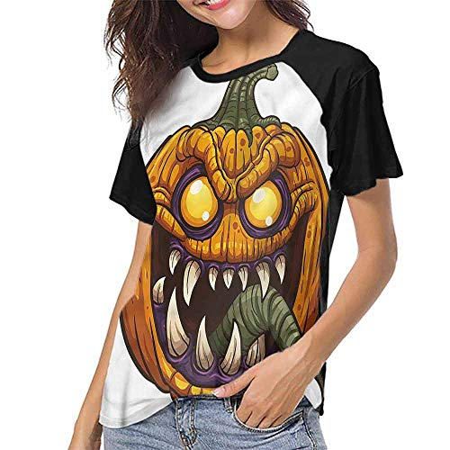 Baseball Men Short Sleeve,Halloween,Scary Pumpkin Monster S-XXL Women Fashion Shirts]()