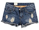 Happyyip Womens Vintage Low Waist Fringe Denim Shorts Jeans Vary Styles (US 0-2/Tag 27, Blue Style 2)
