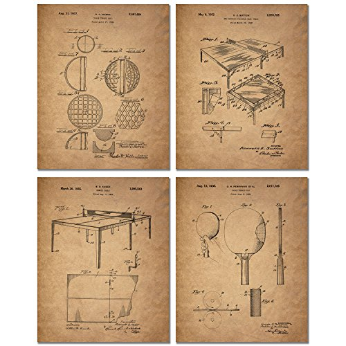 Table Tennis Patent Prints - Set of Four Vintage Ping Pong Wall Art Decor