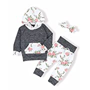Oklady Christmas Baby Girls Florals Outfit Set Long Sleeve Hoodie Sweatshirt with Headbands(6-12 Months)