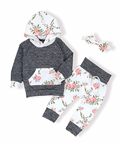 Baby Pant Set (Oklady Christmas Baby Girls Florals Outfit Set Long Sleeve Hoodie Sweatshirt with Headbands(0-6 Months))