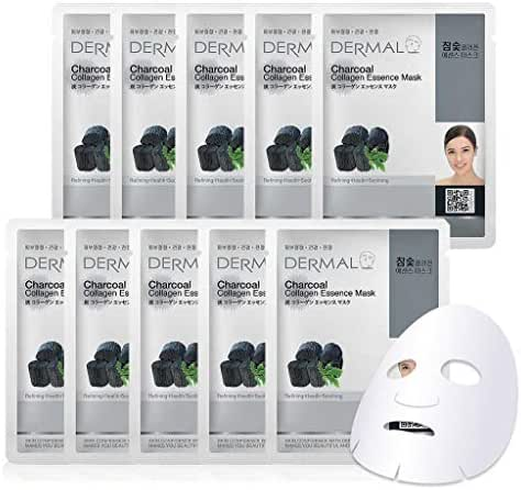 DERMAL Charcoal Collagen Essence Facial Mask Sheet 23g Pack of 10 - Pore Tightening & Brightening, Skin Purifying & Detoxifying, Daily Skin Treatment Solution Sheet Mask