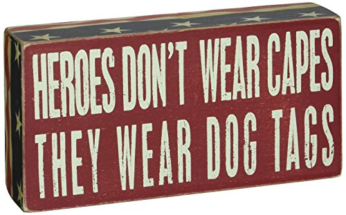 Primitives by Kathy Patriotic Box Sign, 4 x 8, Heroes Wear Dog Tags
