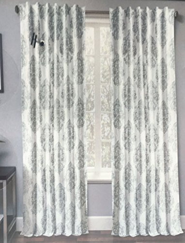 Window Curtains Panels Drapery Cotton Pair Set of 2 Floating Metallic Silver Floral Damask Large Medallions on White, Grandia Metallic Print -- 50 Inches by 96 Inches