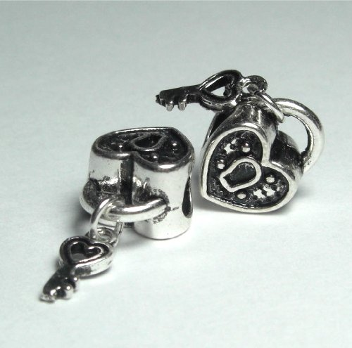 Silver Bead Spacer Charm KEY to My Heart Fits Pandora Chamilia Troll Style Bracelet