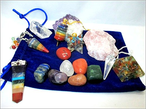 Exquisite Jet 16 Stone Lucky Set w/Pouch Chakra Donut Pendulum Pendant Tumbled Set Orgone Merkaba Pyramid Rough Amethyst Rose Crystal Point Jet International Crystal Therapy Booklet India Spiritual by Jet International