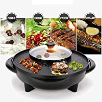 2 in 1 BBQ Hot Pot Pan Non-Stick Grill Oven Frying Cook Barbecue Teppanyaki