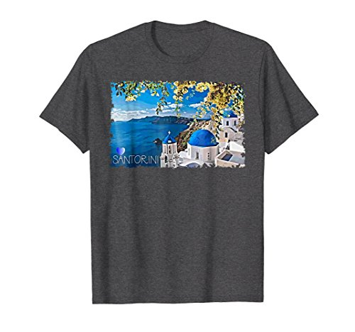 Aegean Heather - Mens Santorini T Shirt Picture Perfect Greek Island On Aegean Sea 2XL Dark Heather
