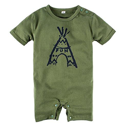 BIG ELEPHANT Baby Boys 1 Piece Graphic Short Sleeve Romper Pajama Green J39
