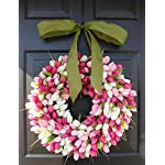 Elegant-Holidays-Handmade-PinkWhite-Silk-Tulip-Wreath-wBow-Decorative-Home-Dcor-for-IndoorOutdoor-Welcome-Guests-in-Spring-Summer-Front-Door-Wreaths-Mothers-Day-Holiday-Accent-16-26-inch