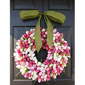 Elegant Holidays Handmade Pink/White Silk Tulip Wreath w/Bow- Decorative Home Décor for Indoor/Outdoor- Welcome Guests in Spring, Summer Front Door Wreaths- Mother's Day Holiday Accent 16-26 inch 1