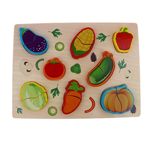 SM SunniMix Wooden Puzzle for Toddlers | Forest Animals, Farm Animals, Insects, Vegetables and Vehicles | Kids Children Early Learning Chunky Puzzles Toy - Vegetables ()
