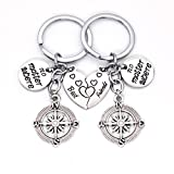 Galaxia Air Best Friends Key Chain Ring Set No Matter Where Compass Split Broken Heart Friendship Gift Unisex Key Chain 2pcs BBF