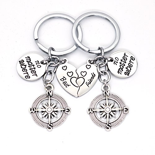 Galaxia Air Best Friends Key Chain Ring Set No Matter Where Compass Split Broken Heart Friendship Gift Unisex Key Chain 2pcs BBF by Galaxia Air