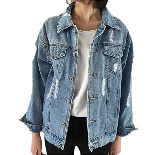 Cystyle Frauen Basic Mäntel Herbst und Winter Damen Jeansjacke Vintage Langhülse Lose Mädchen Jeans Mantel Beiläufige Outwear