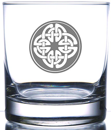 IE Laserware Irish Celtic Shield Knot 12.5 oz Whiskey Scotch Old Fashion Laser Etched Glass (Powers Irish Whiskey)
