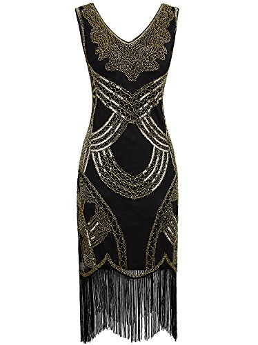 Vijiv Women Flapper 1920s Dress Costume Vintage Inspired Pattern Beaded Charleston Tassel Cocktail Dress