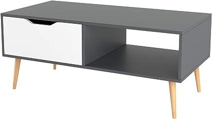 Homfa Table De Salon Scandinave Table Basse Cafe Bois Pour Bureau Tv 100x49 5x43cm Gris Amazon Fr Cuisine Maison