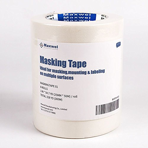 Masking Tape Auto Colored White - 0.94 inch 54.7 Yard Thin Extra Wide Writable Removable Painters Masking Tape for All Purpose,Wall Painting,Car Paint,Auto Painting,Markings(Pack of 6 (All Purpose Masking Tape)