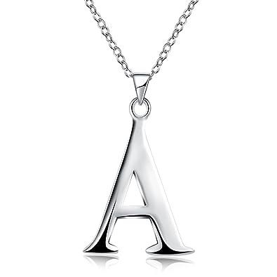 de1e97909c Amazon.com: Silver Pendant Letter A Simple Letter Alphabet ...