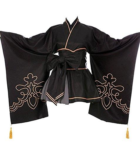 ZYHCOS Cosplay Costume Black Printing Kimono Bow Tie