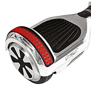 "Self Balancing Scooter (MAX 220 lbs), Skque I1.4 UL2272 Chrome 6.5"" Smart Two Wheel Self Balancing Electric Scooter with Bluetooth Speaker with LED Lights, Silver"