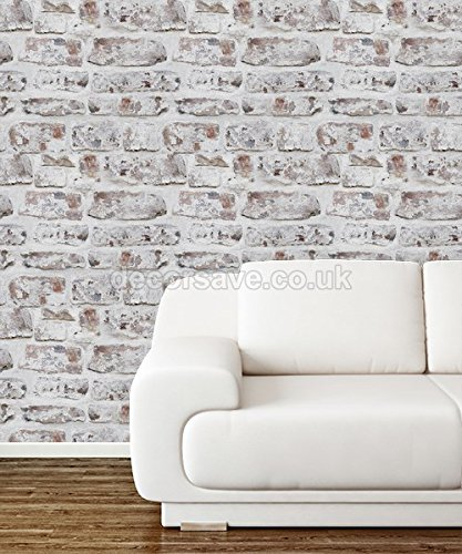 Arthouse Brick Effect Brown White Old Weathered Rustic