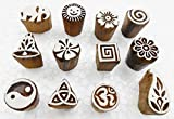 #6: Wholesale Lot of 12 Exotic Small Wooden Block Stamps for Textile Printing/ Henna Tattoo/ Scrapbooking/ Designing Saree Border