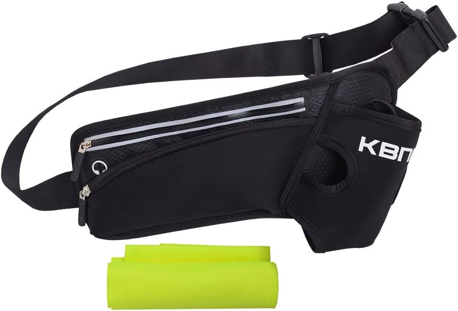 AUTO STAR KBNI Running Belt Waist Packs with Large 20oz Water Bottle Holders for Running Hiking Cycling Climbing, Adjustable Belt for Men Women, Large Zipper Pocket Fits iPhone Android Phones