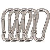 CNBTR Silver 304 Stainless Steel Spring Snap Hook Carabiner Grade Heavy Duty Pack of 5 (M5 x 50mm)