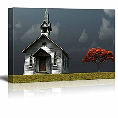 Canvas Prints Wall Art - Scene of an Old Church on a Wind Swept Prarie | Modern Wall Decor/Home Decoration Stretched Gallery Canvas Wrap Giclee Print & Ready to Hang - 16