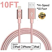 Apple iphone Charger OEM Lightening Fast 10FT USB Cord for IPHONE(ROSE GOLD)
