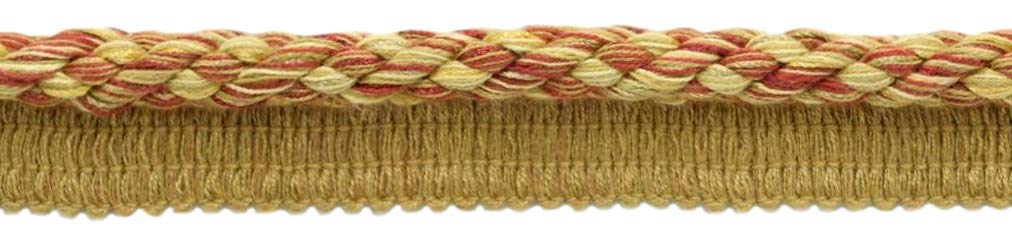 DÉCOPRO Package of 24 Yards|Elaborate 3/8 inch Camel Gold, Beachwood Gold, Dark Rust Veranda Collection Trim Cord with Sewing Lip|Style# 0038V|Color: Golden Harvest - VNT31 (72 Feet / 21.9 Meters) by DÉCOPRO