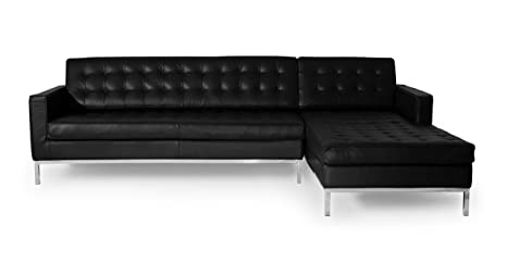 Kardiel Florence Knoll Style Right Sectional Sofa, Black 100% Full Premium Leather