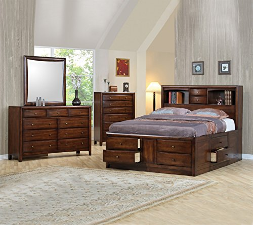 Hillary and Scottsdale Contemporary Master Bedroom 4pc Set Queen Size Bed Bookcase w Underbed Storage Brown Finish Wooden Dresser Mirror Nightstand ()