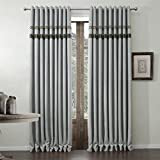 """twopages Classic Faux Linen Grey Grommet Top Room Darkening Curtain 84Wx63""""L (One Panel) Multi Size Available Custom"""