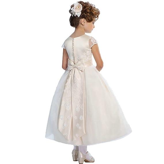 Lilis Flower Girls Dress White Ivory Kids First Communion Party Wedding Dresses Long Flower Girl Dresses: Amazon.co.uk: Clothing
