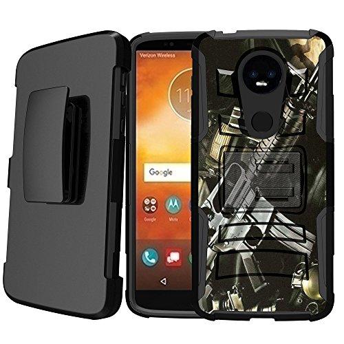 Untouchble | Flag Case for Motorola Moto E5 Supra, Moto E5 Plus Kickstand Case [Heavy Duty Clip] Holster Case Combo with Dual Layer Case Built in Kickstand - Assault Rifle
