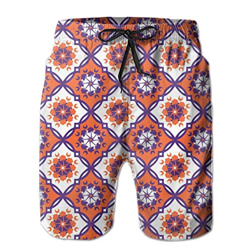 Men's Quick Dry Swim Trunks Clemson Medallion inch Repeat Colorful Beach Shorts with Mesh Lining
