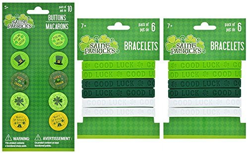 St Patrick's Day Button Pins and Bracelets Set of 10 Green Accessories Good Luck Lucky Charm Kiss Me I'm Irish
