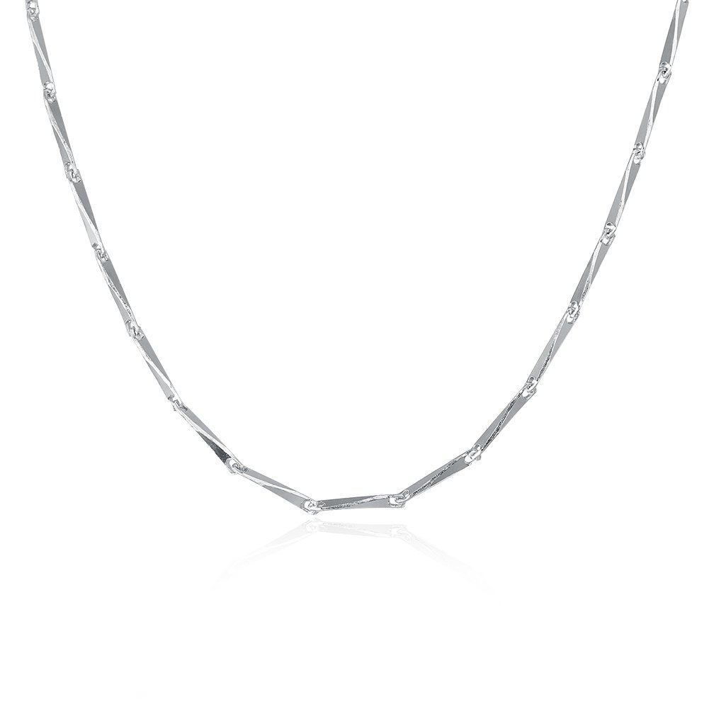 COCOBAR Sterling Silver 0.5mm-1mm Chain Necklace -Several styles (16, Bamboo chain)