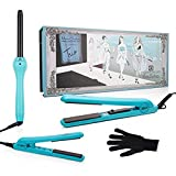 "Brilliance New York - Trio Flat and Curling Irons Set: 1.25"" Diamond and Ceramic Flat Iron + 1/2"" Mini Diamond Flat Iron + 1"" Clipless Curling Iron, Turquoise"